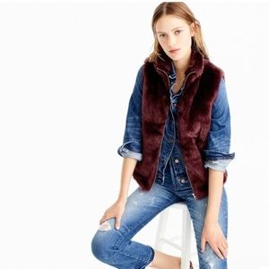 j crew faux fur vest burgundy Sz XS